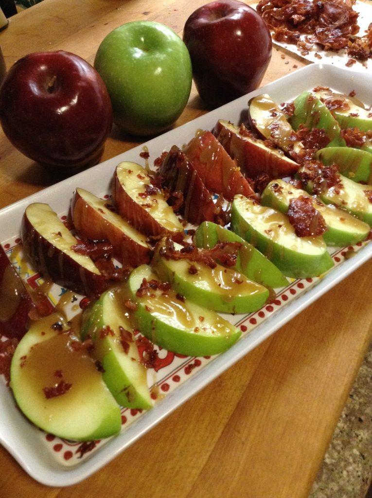 Apples w/Caramel Drizzle and Crispy Prosciutto