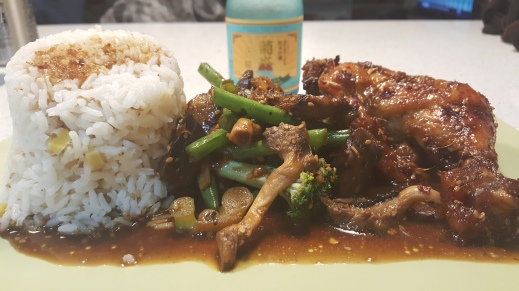 Teriyaki Chicken with Steamed Sesame Ginger Rice and Stir-fried Veggies