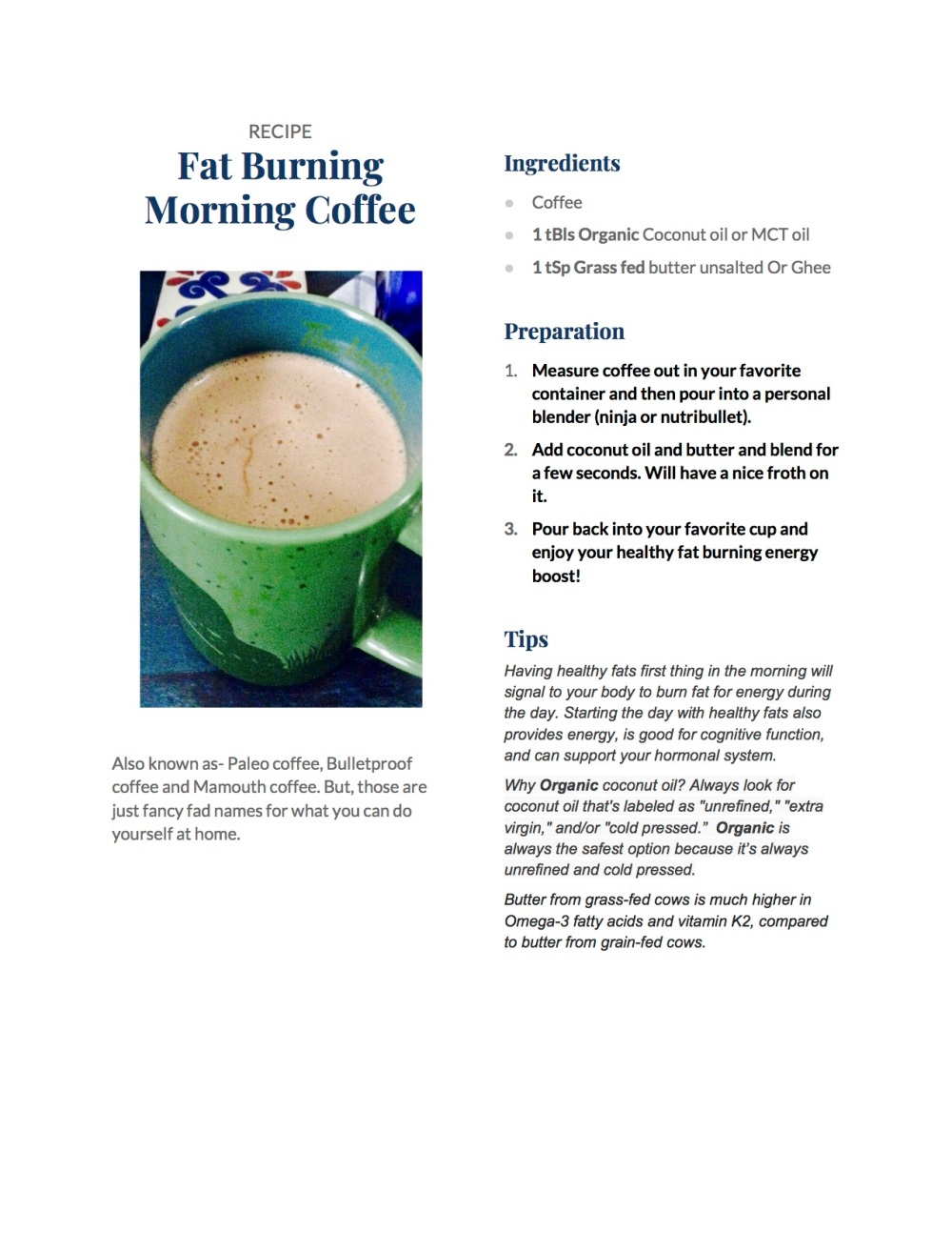Fat Burning Morning Coffee